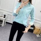 Cartoon Print Long-Sleeve Fleece-lined Blouse 1596