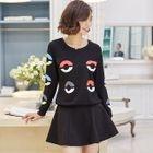 Set: Printed Pullover + Plain A-Line Skirt 1596