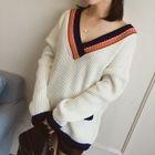 Ribbed Knit V-Neck Sweater 1596