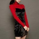 Set: Turtleneck Top + Sleeveless Dress 1596