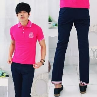 Picture of moscod Set: Contrast-Trim Embroidered Polo + Contrast-Trim Pants 1022809917 (moscod, Mens Suits, Korea)