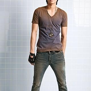 Picture of moscod Set: Washed V-Neck T-Shirt + Washed Boot-Cut Jeans 1022809976 (moscod, Mens Suits, Korea)