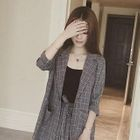 Set : Plaid 3/4-Sleeve Blazer + Spaghetti Strap Top + Shorts 1596