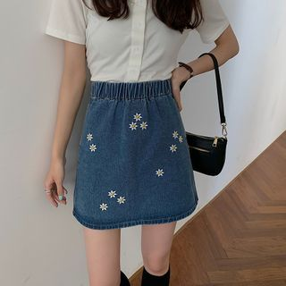 Image of Floral Embroidered Denim Skirt