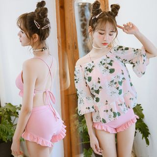 Set: Frill Trim Bikini + Floral Print Cover-Up Top 1060147884