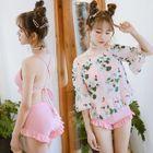 Set: Frill Trim Bikini + Floral Print Cover-Up Top 1596