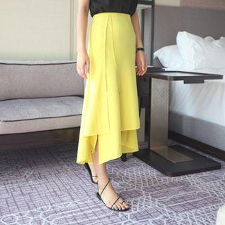 Band-Waist Asymmetric-Hem Long Skirt 1050828634