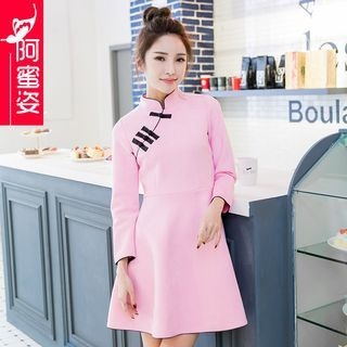 Stand Collar Chinese Frog Button A-Line Dress 1049686379