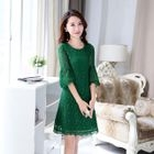 Elbow-Sleeve Lace Dress 1596