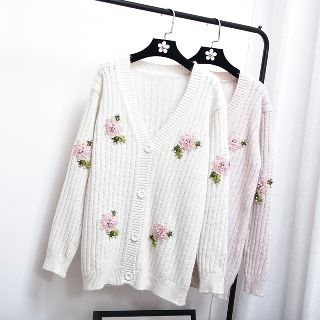 Embroidery Ribbed Cardigan 1060891220