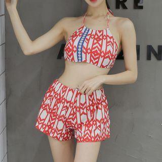 Set: Patterned Bikini + Tank Top + Shorts 1058403942