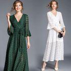 Bell-Sleeve Tie-Waist Lace Dress 1596