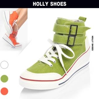 Picture of Holly Shoes Buckle-Tab High-Top Wedge Sneakers 1022770890 (Sneakers, Holly Shoes Shoes, Korea Shoes, Womens Shoes, Womens Sneakers)