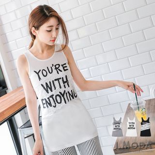 Lace Print Rib Long Tank Top 1053607467