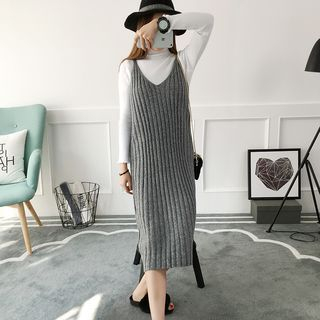 V-neck Ribbed Sleeveless Knit Dress 1057077372