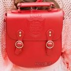 Faux-Leather Crossbody Bag Red - One Size