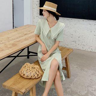 Image of Buttoned Short-Sleeve Midi A-Line Chiffon Dress