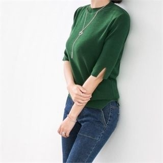 Elbow-Sleeve Slit-Detail Knit Top 1058251734