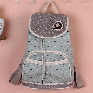 Crochet-Trim Patterned Flap Backpack