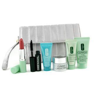 Picture of Clinique - Travel Set: 7 Day Scrub Cream+ Repairwear Contour+ Moisturizer+ Turnaround Concentrate+ Lipstick+ Mascara+ Bag 6pcs+1bag (Clinique, Skincare, Face Care for Women, Womens Travel Kits)