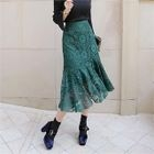Band-Waist Lace-Overlay Long Skirt 1596