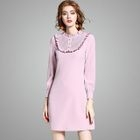 Long-Sleeve Frilled-Trim Dress 1596