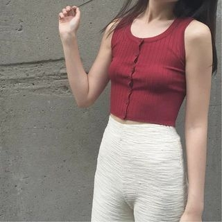 Button Down Ribbed Cropped Tank Top 1050925899