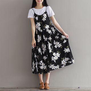 Floral Print Spaghetti Strap A-Line Dress 1051503393