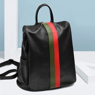 Striped Faux Leather Backpack 1063472198