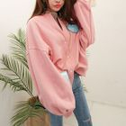 Balloon-Sleeve Appliqu  Cotton Cardigan 1596