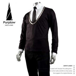 Buy Purplow V Neck Sweater + Fly Front Shirt + Neck Tie 1004802228