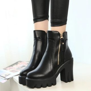 Chunky Heel Platform Ankle Boots