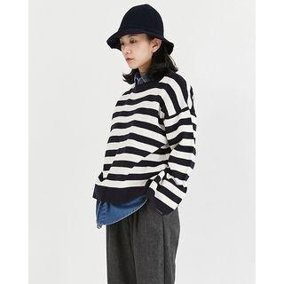 Drop-Shoulder Striped Knit Top 1053817508