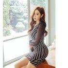 Chiffon-Sleeve Striped Wrap-Front Dress 1596