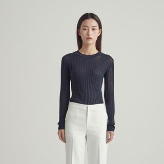 Round-Neck Ribbed Knit Top 1064861183