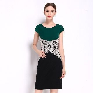 Image of Cap-Sleeve Two Tone Crystal Sheath Dress