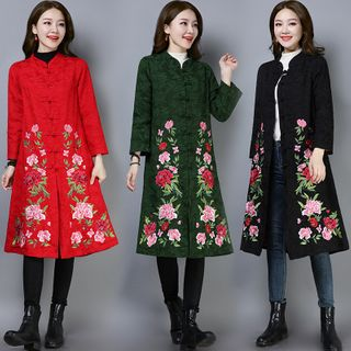 Image of 3/4-Sleeve Embroidered Coat