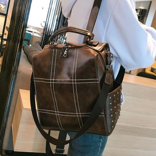 Image of Convertible Faux Leather Stitched Backpack