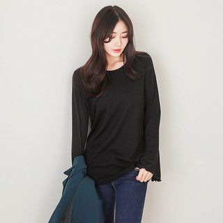 Bell-Sleeve Ribbed T-Shirt 1057708943