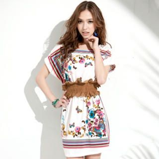 Buy Joanne Kitten Short-Sleeve Printed Dress with Belt 1022926110