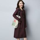 Long-Sleeve Knitted Midi Dress 1596