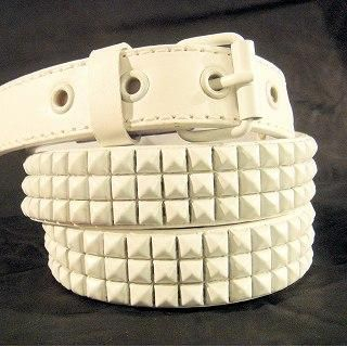 Picture of Wizz Spirit Pyramid Stud Belt White - One Size 1005178532 (Wizz Spirit, Mens Belts, Japan)