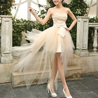 Strapless Bow High Low Prom Dress 1039440787
