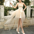 Strapless Bow High Low Prom Dress 1596
