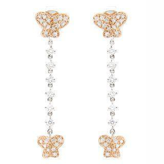 Image For 18K White & Rose Gold Dangling Earrings with Diamonds