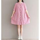 Elbow-Sleeve Linen Dress 1596