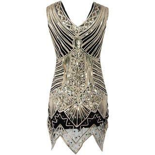 Sleeveless Paneled Sequined Dress