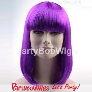 Purple | Medium | Party | Neon | Size | Wig | Bob | One