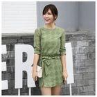 Set: Ruffle Hem Lace Top + Mini Skirt 1596