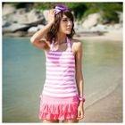 Set: Striped Bikini + Tank Top + Skirt 1596